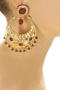 Gold plated navaratan earrings by Soranam. Shop now: www.perniaspopups.... #earrings #pretty #designer #soranam #chic #accessories #shopnow #perniaspopupshop #happyshopping