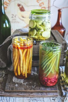 pickled beans and cucumber