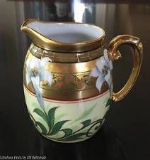 Antique PICKARD T&V Limoges EASTER LILY Dorique Porcelain Pitcher FISHER