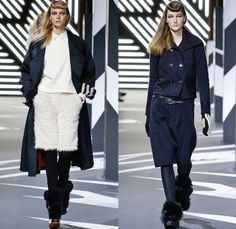 Y-3 Yohji Yamamoto Adidas 2014-2015 Fall Autumn Winter Womens Runway Looks Fashion - Paris Fashion Week Défilés - Sportswear Jogging Sweatpants Leggings Knit Bombersweat Shorts Furry Outerwear Jacket Coat Peacoat Skirt Frock Blazer Turtleneck Stripes Wide Leg Palazzo Pants Culottes Cropped Trousers Hoodie Cape Cloak Pantsuit Dovetail