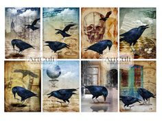 THE RAVEN  Digital Collage Sheet Printable Halloween by ArtCult, $4.99