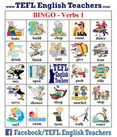 TEFL English Teachers - BINGO Verbs board 1