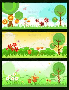 Spring Banners,backgrounds, banner, bird, butterfly, cartoon, cloud, cute, daisy, flower, grass, green, grunge, illustration, landscape, leaf, meadow, nature, non-urban, orange, painting, plant, retro, scene, season, sky, spring, summer, tree, vector