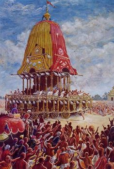 Lord Chaitanya in front of Lord Jagannath's Rath Cart Jagannath Temple Puri, Lord Jagannath, Krishna Hindu, Hare Krishna, Temple Pictures, God Pictures, Good Morning Gif Images, Indian Temple Architecture, Rath Yatra