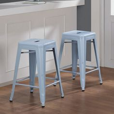 @Overstock - Give your kitchen or bar a modern look with these stackable steel counter stools with powder blue finish. These stools are scratch resistant and mark resistant for durability and a clean appearance, and the nonmark glides won't scuff your floors.http://www.overstock.com/Home-Garden/Tabouret-24-inch-Blue-Counter-Stool-Set-of-2/6552129/product.html?CID=214117 $89.99