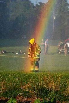 Blessings shining on the firefighter