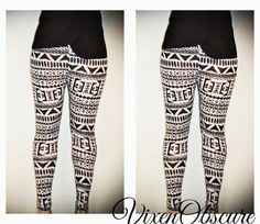 Tribal Womens Aztec mayan print pattern black and white Leggings Tights on Etsy, $38.00