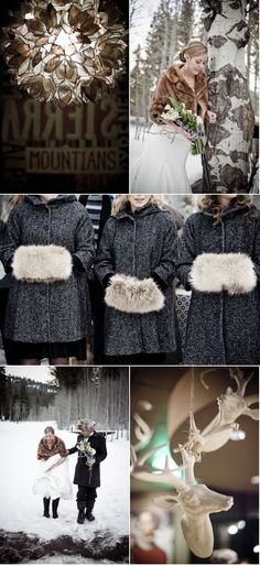 I love the idea of matching coats for the bridesmaids. Oh, and judge if you must but I LOVE the fur hand covers too!! :)