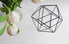 feathers of gold: faceted hexagonal ornament made from stir straws