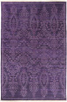 Antique Rug in Purple - 100% Wool - New Zealand - Backing: N/A - Hand Knotted - Custom Sizes Available - Low Pile - Antique Wash,Fringe Detail - Color (Pantone TPX): Dark Purple(19-3520), Dark Purple(
