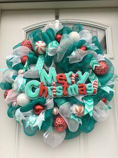 Aqua/red/white deco mesh merry Christmas  wreath