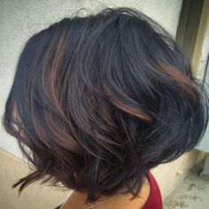 Wavy Layered and Textured Bob with Partial Brown Highlights