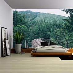 Amazon.com: Wall26 - Green Misty Forest Mural - Wall Mural, Removable Sticker, Home Decor - 66x96 inches: Home & Kitchen