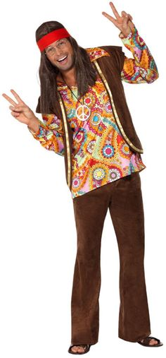 0a1c330981 Smiffy s Men s Psychedelic Hippy Costume with Shirt Trousers and Waistcoat