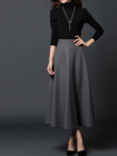 Gray woman long winter wool dress plus size by fashionwomanstore