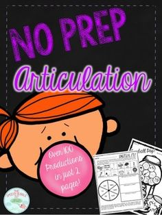 No Prep Articulation. Save ink and time!