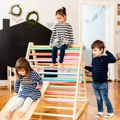 Painted Climbing triangle Baby climber Climbing ladder for Baby Proof House, Toddler Climbing, Le Triangle, Aspen Wood, Toddler Furniture, Activity Toys, Gross Motor Skills, Linseed Oil, Baby Safe