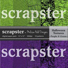 Halloween Textures Purple Green Black by ScrapsterbyMHdesigns, $4.50