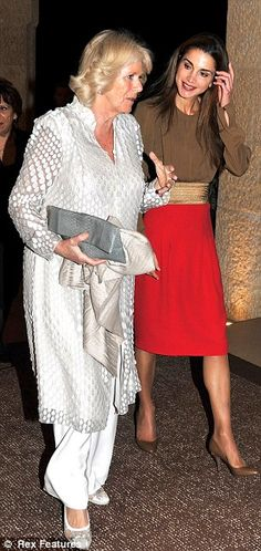 Queen Rania wore the dress as she welcomed Camilla on an official visit to the Middle East