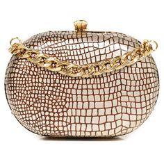 Laura De La Vega Cocca Crocodile Print Mini Clutch Bag ($100) ❤ liked on Polyvore