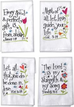 Embroidered Inspirational Hand Towels With Scriptures (Set of 4)