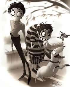 Victor, Edgar and Sparky from Frankenweenie. Art by Professor Pemzini. Tim Burton Stil, Tim Burton Kunst, Estilo Tim Burton, Tim Burton Art, Tim Burton Animation, Disney Animation, Clay Animation, Tim Burton Characters, Dark And Twisted