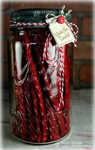 """Fill jar with twizzlers & add a cute red tag with """"Twiz the season..."""" or """"Twiz the night before Christmas"""" - Cute Idea!"""