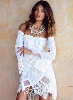 Sukienki - $59.99 - Bawełna Solidny Długi Rękaw Ponad Kolano Seksowne Sukienki (1955127633)