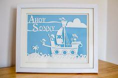 Pirate themed personalised papercut. #personalised #papercut #papercraft #christening #babyshower #pirate #sea #ship #giftidea #baby #newborn #nursery #treasureisland