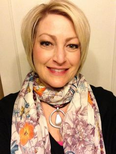 Pretty lady is wearing Easy Living necklace under a scarf. Looks great! Carolyn Popp Premier Designs Jewelry on Facebook.