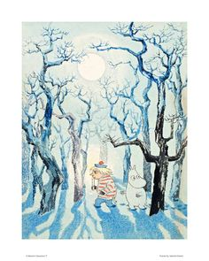 Moomin Poster Too Ticky and Moomin Troll in the Winter Forset 24 x 30 cm - Finland Quality Design Art And Illustration, Illustrations Posters, Painting & Drawing, Watercolor Paintings, Tove Jansson, Popular Artists, Photo Art, Concept Art, Moose Art