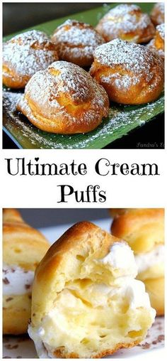 Ultimate Cream Puffs Luscious cream puffs bring back memories of my favorite dessert my mom made for our family in Yugoslavia. Just Desserts, Delicious Desserts, Dessert Recipes, Yummy Food, French Desserts, Appetizer Recipes, Eclairs, Profiteroles Recipe, Pastry Recipes