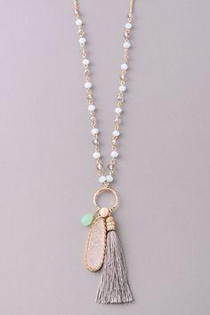 Boho Beaded Tassel & Stone Necklace
