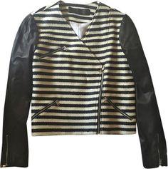 Jenni Kayne Striped Leather Sleeve Moto Jacket www.fullcirclefashion.com