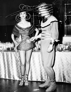 The Man and Woman of Tomorrow, model futuristic fashions for an upcoming sci fi Television show, 1951