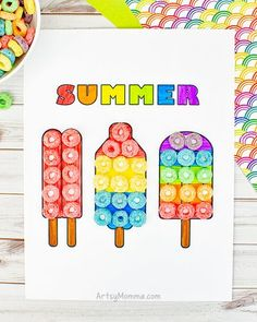 Use Fruit Loops to make colorful popsicles using our popsicles coloring age template. #summercraftforkids #coloringpage #artsymommadotcom