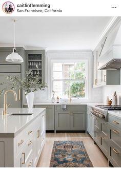 Home Decor Kitchen, Interior Design Kitchen, New Kitchen, Home Kitchens, Kitchen Ideas, Two Toned Kitchen, Light Green Kitchen, Sage Green Kitchen, Two Tone Kitchen Cabinets