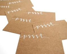 Pssst Mini-Notecards with Handwritten Calligraphy . Woodland Calling Cards . White Ink on Brown Kraft . Set of 10