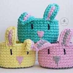 Crochet Case, Crochet Bowl, Crochet Storage, Crochet Basket Pattern, Easter Crochet, Knit Crochet, Crochet Rabbit, Crochet Dishcloths, Bunny Crafts