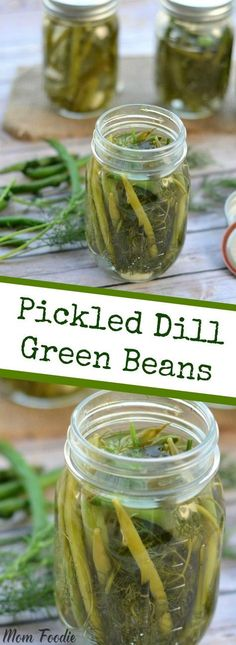 Time to get into pickling and canning high gear. The late summer harvest bounty is here, and the perfect opportunity to make some not-so-everyday recipes. Why not start with this easy Pickled Dill Green Beans recipe. It would actually make a good first ti Pickled Green Beans, Pickled Cabbage, Fingers Food, Canning Pickles, Brownie Desserts, Home Canning, Easy Canning, Pickles, Sauces
