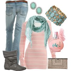 A cute pink & teal outfit from rue21.