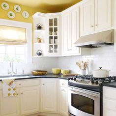 Kitchen Ideas Love The White Tile And Yellow Walls Kitchens
