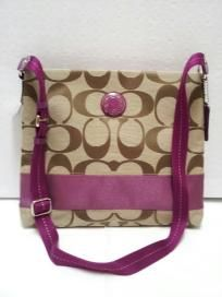 FREE SHIP - NWT! COACH Signature Stripe Khaki/Berry File Crosbody Bag F19220