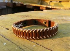 Men's leather bracelet brown leather wrap braided by VavienStore  R$60