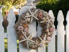 Coastal Burlap Wreath with Starfish Shells Sea by KeepingItCoastal, $40.00