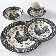 red black and white  rooster  dishes | Churchill® 20-piece Earthenware Dinnerware Set 'Rooster Black'