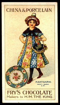 "Fry's Chocolate ""China & Porcelain"" series of 15 trade cards. Vintage Labels, Vintage Ephemera, Vintage Tea, Vintage Postcards, Vintage Images, Flowery Wallpaper, Chocolate Art, Old Ads, Advertising Poster"