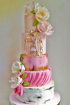 24 Elaborate Fondant Flower Wedding Cakes ❤ See more: http://www.weddingforward.com/fondant-flower-wedding-cakes/ #weddings #cakes