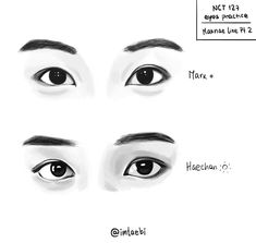 NCT eyes practice - Maknae line Pt. I was so busy with college that I went insane! Drawing today was such a comforting… Sketching Tips, Drawing Tips, Drawing Reference, Mark Lee, Kpop Drawings, Korean Art, Kpop Fanart, Winwin, Art Sketchbook