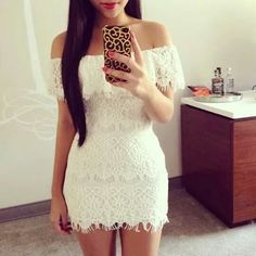 In 2014 the European and American women sexy lace white lace strapless dress Sexy Dresses, Cute Dresses, Dress Outfits, Party Dresses, White Mini Dress, White Lace, Navy Lace, Lace Dress, Strapless Dress